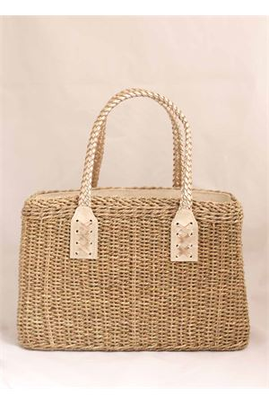 Straw bag with platinum leather handles Laboratorio Capri | 31 | 234CORDAPLATINO
