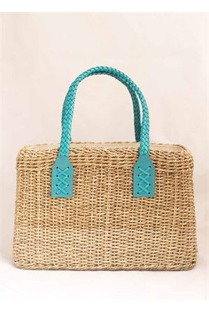 Straw bag with turquoise handles Laboratorio Capri | 31 | 234CORDATURCHESE