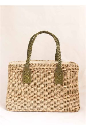 Straw bag with green leather handles Laboratorio Capri | 31 | 234CORDAVERDE