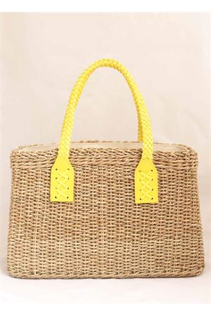 Borsa in paglia con manici in pelle color giallo Laboratorio Capri | 31 | 234CORDAYELLOW