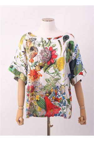 Silk t-shirt with flowers pattern  Laboratorio Capri | 8 | DALIAAUTOCTONE