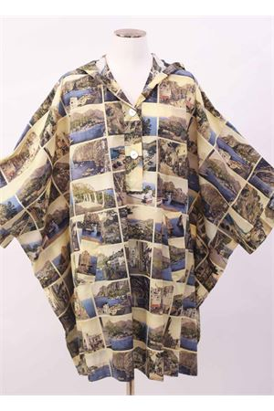 Wind coat poncho with antique postcard print Laboratorio Capri | 52 | FEZMULTICARTOLINE