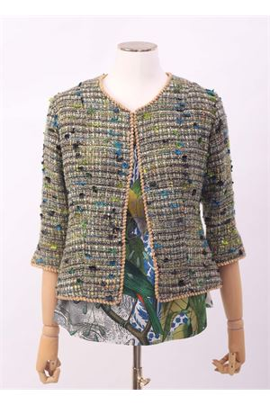 Green bouclé short jacket  Laboratorio Capri | 3 | GARDENIAVERDEBOUCLE