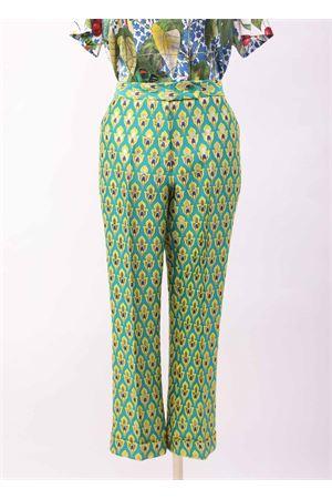 Green jaquard fabric Capri pants  Laboratorio Capri | 9 | GIGLIOJAQUARDVERDE