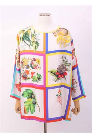 Maxi t-shirt in seta con fantasia botanica Laboratorio Capri | 8 | MAXITSBOTANICAFOULARD