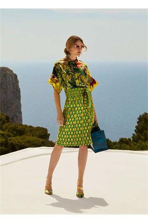 Gonna longuette in jaquard verde e giallo Laboratorio Capri | 15 | OLEANDROJAQUARD