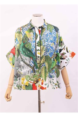 Wide shirt in silk with floreal pattern  Laboratorio Capri | 8 | PANSEAUTOCTONE