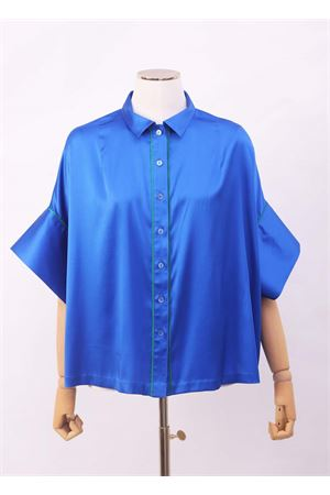 Blue silk shirt with wide short sleeves Laboratorio Capri | 6 | PANSEBISAZZURRO