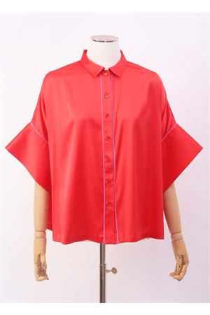 Red shirt in silk with short sleeves Laboratorio Capri | 6 | PANSEBISROSSO