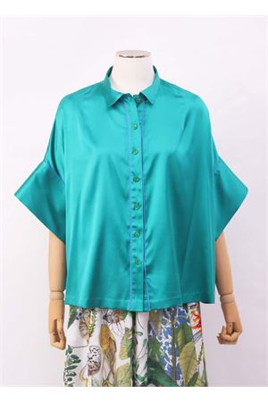 Emerald green shirt in silk with short wide sleeves Laboratorio Capri | 6 | PANSEBISVERDE