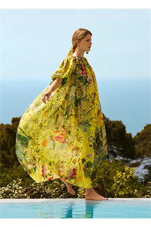 Maxi abito lungo in seta lamé a fiori Laboratorio Capri | 5032262 | PASSIFLORAGIALLO