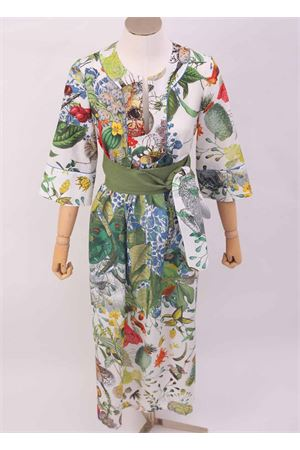 Caftano lungo in seta e cotone con fantasia fiori Laboratorio Capri | 5032233 | PETALOAUTOCTONE