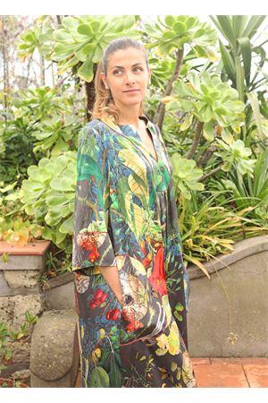 Abito ampio in pura seta a fiori Laboratorio Capri | 5032233 | PETALOAUTOCTONEGRIGIO