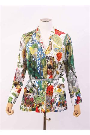 Silk jacket with flower print on a white background Laboratorio Capri | 6 | PIGIAMAAUTOCTONE