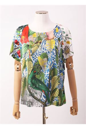 Silk t-shirt with flowers and plants pattern  Laboratorio Capri | 8 | ROSYAUTOCTONEGIALLO