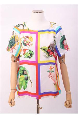 T-shirt in seta con fantasia foglie e fiori Laboratorio Capri | 8 | ROSYBOTANICAFOULARD