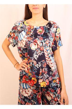 Flowered pattern silk t-shirt  Laboratorio Capri | 8 | ROSYSANDARESONBLU