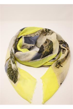 Yellow scarf with antique Capri postcards Laboratorio Capri | 77 | S140-130MULTICARTGIALLO