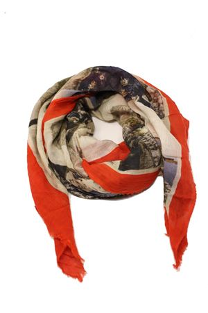 Red scarf with antique Capri postcards Laboratorio Capri | 77 | S140-130MULTICARTROSSO