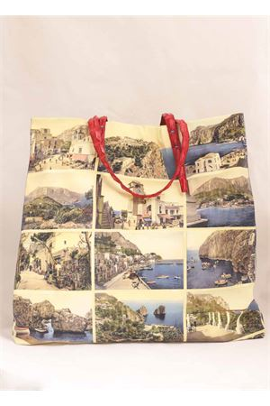 Silk shopper with old Capri postcards  Laboratorio Capri | 31 | SANTAMARIAMULTIROSSO