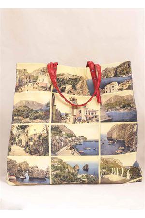 Shopper cartoline di Capri in seta e coccodrillo Laboratorio Capri | 31 | SANTAMARIAMULTIROSSO