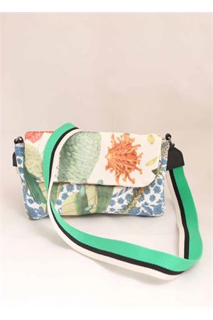 Velvet shoulder bag with floral pattern  Laboratorio Capri | 31 | SUN+LMULTICOLOR