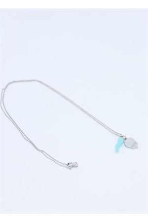 Silver necklace with light blue horn and capri bell charms Manè Capri | 35 | COLLANA CORNOAZZURRO