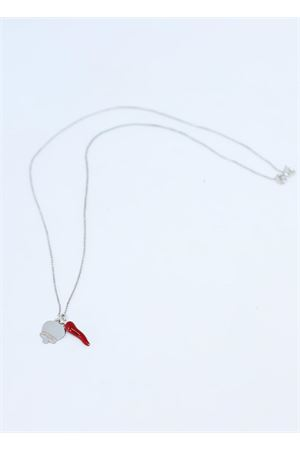 Silver necklace with Napolitan horn and Capri bell charm Manè Capri | 35 | COLLANA CORNOROSSO