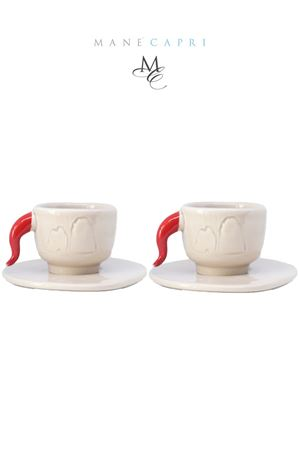 Set of 2 cofee cups with faraglioni and lucky horn  Manè Capri | 20000026 | SETNORMCAFFEBEIGETORTORA