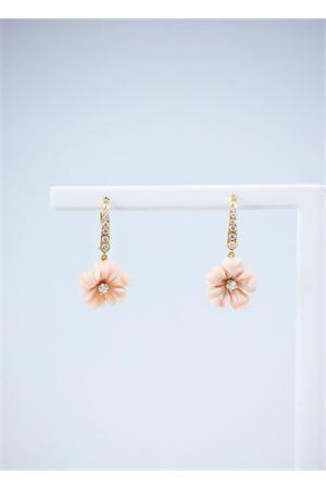 Orecchini rosa a forma di fiore in oro giallo e diamanti Mediterranee Passioni | 48 | AK728ROSA