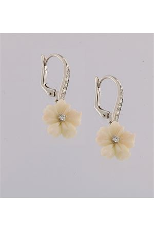 Dangle earrings with flowers in gold and diamonds Mediterranee Passioni | 48 | AL153BIANCO