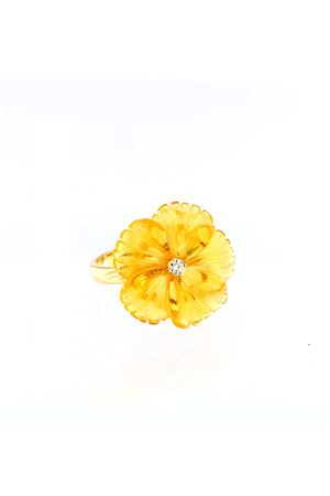 Yellow flower shaped ring in gold  Mediterranee Passioni | 5032250 | AL177AMBRA