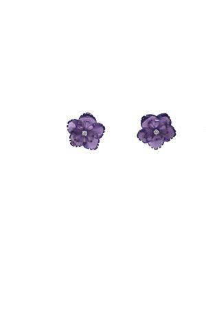Orecchini con fiori viola in oro , amestista e diamanti Mediterranee Passioni | 48 | AL266VIOLA