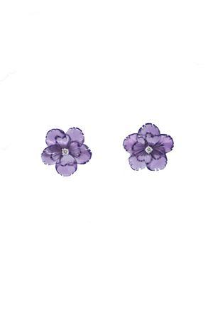 Orecchini a forma di fiore viola in oro bianco e diamanti Mediterranee Passioni | 48 | AL267VIOLA
