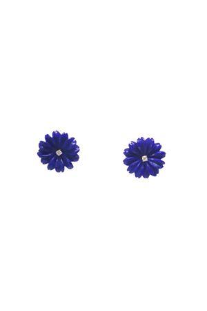 Orecchini fiori blu in oro giallo e diamanti Mediterranee Passioni | 48 | AL275BLU