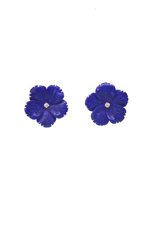 Bluew flowers earrings in gold and diamonds Mediterranee Passioni | 48 | AL276BLU