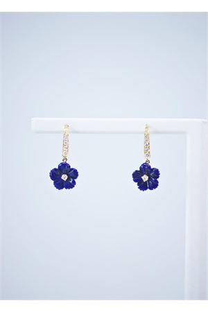 Orecchini pendenti in oro giallo e diamanti a forma di fiore Mediterranee Passioni | 48 | AL319BLU