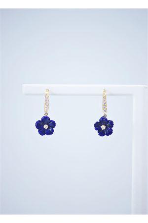 Blue flower pendant earrings in gold and diamonds Mediterranee Passioni | 48 | AL319BLU