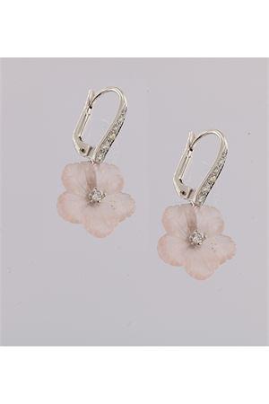 Orecchini pendenti con fiori rosa in diamanti e oro Mediterranee Passioni | 48 | AL322ROSA
