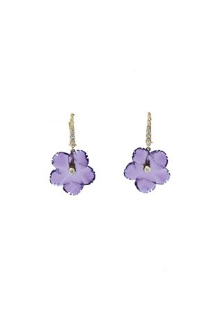 Orecchini fiori viola in oro e diamanti Mediterranee Passioni | 48 | AL324VIOLA