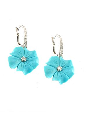 Dangle earrings with light blue flowers  Mediterranee Passioni | 48 | AL328TURCHESE