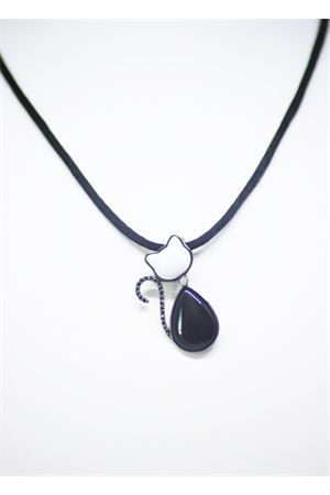 White and black cat pendant with diamonds  Mediterranee Passioni | 5032249 | CHARLIE 18KTBIANCO E NERO