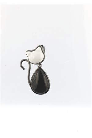 Black and white cat pendant with diamond Mediterranee Passioni | 5032249 | CHARLIE ARGENTO 925BIANCO E NERO