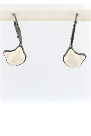 Cat pendant earrings in white Agate with rhodium-plated silver Mediterranee Passioni | 48 | CHARLIEAGATABW