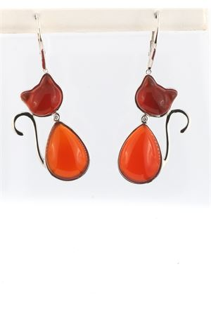 Cat-shaped earrings in silver and carnelian with diamond Mediterranee Passioni | 48 | MARTINDIAMONDSCORNIOLA