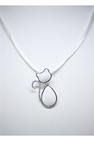 White cat pendant in gold and diamonds  Mediterranee Passioni | 5032249 | MATISSE 18KTBIANCO