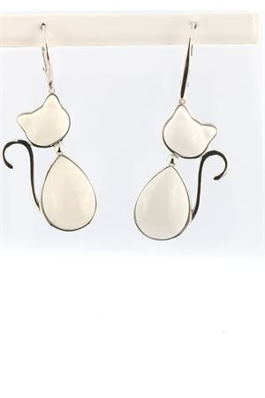 Cat-shaped dangling earrings in white agate and 925 silver Mediterranee Passioni | 48 | MATISSEAGATAL