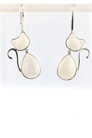 White cat pendant earrings in 925 silver Mediterranee Passioni | 48 | MATISSEDIAMONDSBIANCOAGATA