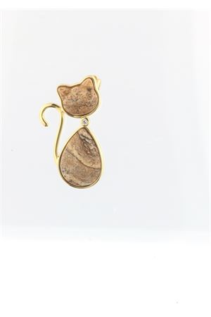 Cat pendant in jasper , silver and diamond Mediterranee Passioni | 5032249 | MILLY ARGENTO 925BEIGE E MARRONE