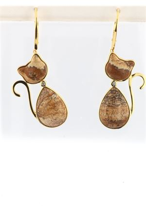 Cat-shaped pendant earrings in gold plated silver and jasper Mediterranee Passioni | 48 | MILLYDIAMONDSDIASPRO